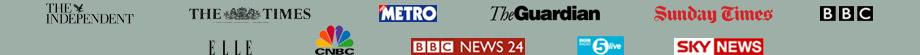 The Independent, The Times, Metro, The Guardian, Sunday Times, BBC, Sky News, BBC Radio 5 Live, BBC News 24, ELLE, CNBC Logos