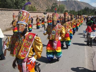 Locals in Peru participate in a festival of traditional clothing in the Sacred Valley region