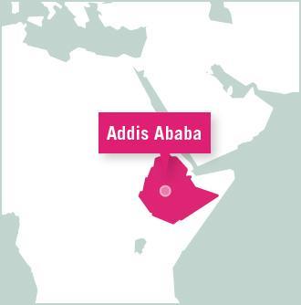 Map of volunteer project destination in Ethiopia, Africa