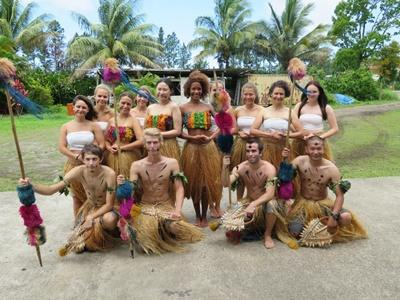 Projects Abroad volunteers wear traditional dress and celebrate a local holiday in Fiji
