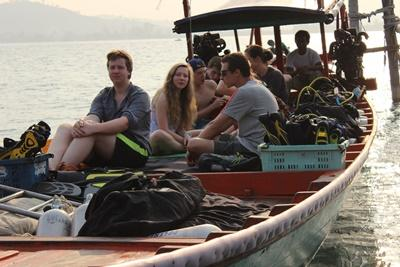 Volunteers on a boat in Cambodia