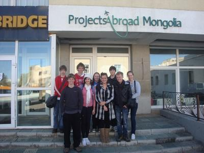 Volunteers standing outside of the Projects Abroad local office in Ulaanbaatar, Mongolia