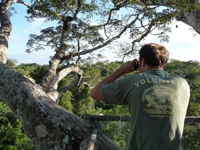 Volunteer on the Conservation project in Peru observing birds in Peru