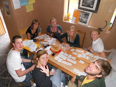 Volunteers preparing lesson plans in the Projects Abroad office in Urubamba, Peru