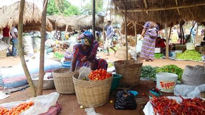 A Togolese woman sells vegetables at her market stall