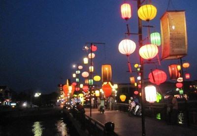 Street lanterns near volunteer projects in Hanoi, Vietnam