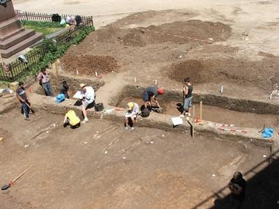 Gap Year volunteers dig on an archaeological site on the Archaeology project in Romania