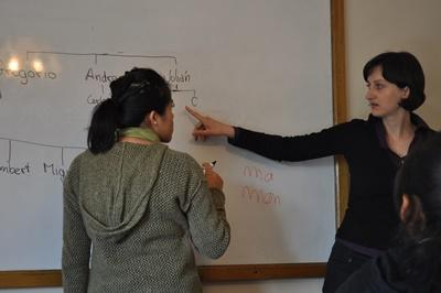 Volunteer on the Teaching project leads a lesson in a university in Bolivia