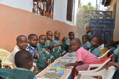 A group of Tanzanian children at their elementary school