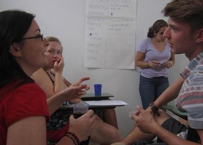 Interns on the Human Rights project in Argentina work together in the office in Cordoba