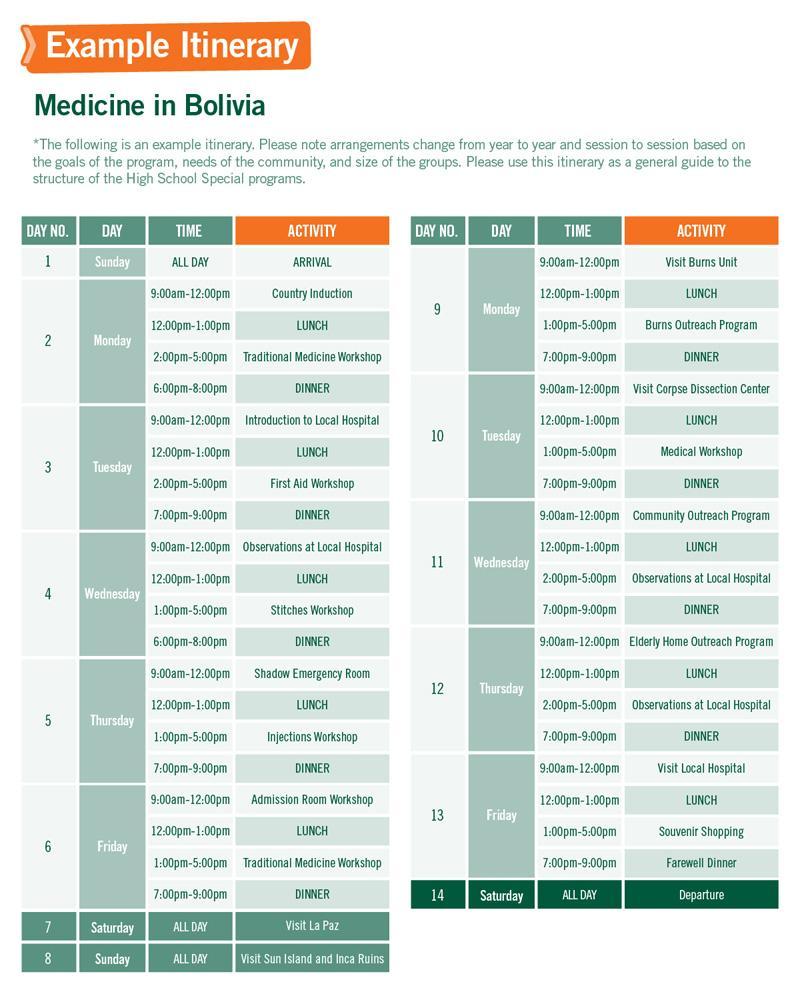 High School Special sample schedule for Medicine in Bolivia