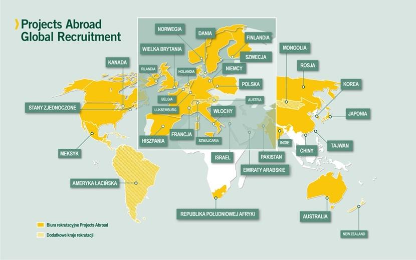 A map of Projects Abroad Recruitment Offices across the globe.